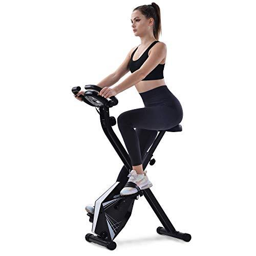 Heimtrainer Bike klappbar, 8 Widerstandsstufen, fitness bike mit Handpulssensoren und Trainingscomputer (Silver)
