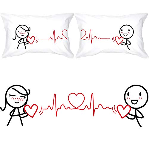 BoldLoft Love You Every Beat of My Heart Couple Pillowcases-Gifts for...
