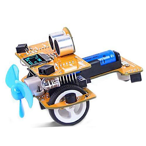 Programable Bricolaje Kit de Coche, DIY Monta Conjunto Juguete, con Módulo de Seguimiento de Línea, Sensor Ultrasónico, Módulo IR, Educativo Tecnología Regalos para Niño, Adulto