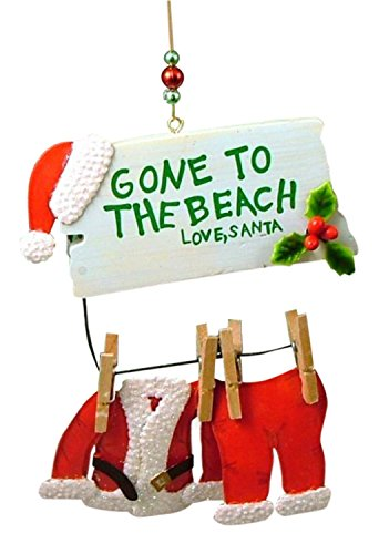 Cape Shore Santa Gone to The Beach Clothesline Coastal Christmas Ornament