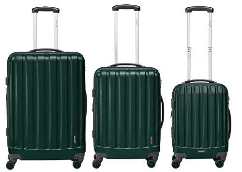 Packenger Kofferset - Velvet - 3-teilig (M, L & XL), Dunkelgrün, 4 Rollen, Koffer mit TSA- Schloss und Erweiterungsfach, Hartschalenkoffer (ABS)