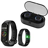 Enraciner [ Fitness Combo ] Bluetooth 5.0 Earbuds with M5 Bracelet Wristband Fitness Tracker Blood...
