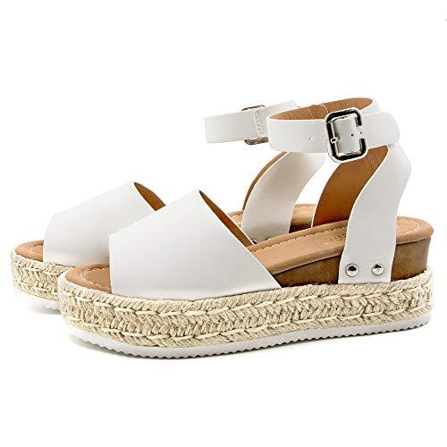Athlefit Womens Platform Sandals Espadrille Wedge Ankle Strap Studded Open Toe Sandals