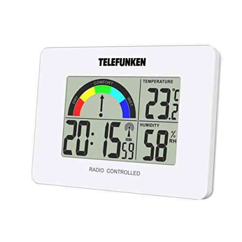 TELEFUNKEN Wecker Funkwecker digital LCD DCF mit Raumklima-Komfort-Anzeige Innentemperatur Luftfeuchte Thermometer Funkuhr Acrylglasblende weiß FUD-40COM (W)