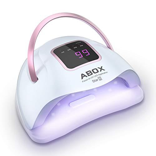 ABOX Lampe UV Sèche Ongles, 72W UV LED Séchoir à Ongles Professionnel avec 4 Minuteries 10/30/60/99S LCD Ecran Base...