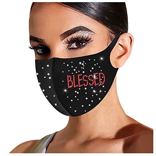 1PC Adult Bright Diamond Face_masks for Coronàvịrụs Protectịon ,Washable Ice Silk Cotton 𝙢𝙖𝙨𝙠 ,Fashion Breathable Bandanas,Dustproof Face_Shield Gift for Women (B 1PC)