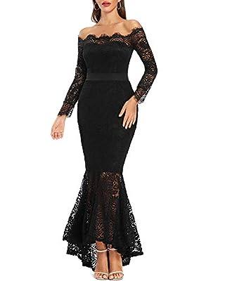 LALAGEN Women's Floral Lace Long Sleeve Off Shoulder Wedding Mermaid Dress Black S