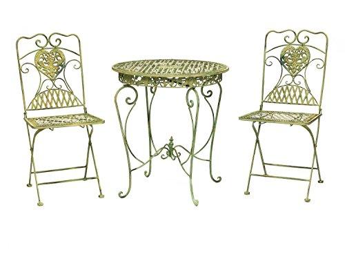 aubaho Gartenset Bistroset Gartentisch 2 Stühle Eisen Antik-Stil Gartenmöbel Creme grün