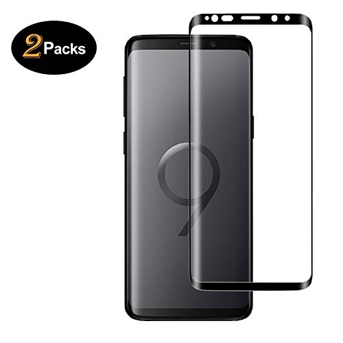 [2 Pack] Galaxy S9 Screen Protector Tempered Glass, [Update Version] KooJard 3D Curved Dot Matrix [Full Screen Coverage] Glass Screen Protector [Case Friendly] for Samsung S9