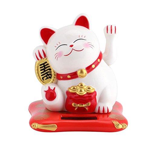 Gato Que agita, Maneki Neko, Gato de la Fortuna, Gato Lindo Que agita con energía Solar Buena Suerte Riqueza Gatos acogedores Exhibición del hogar Decoración(Blanco)