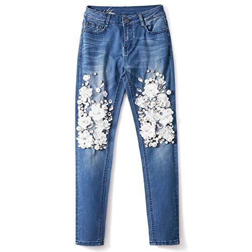 KBCJUA Art- und Weisefrauen beiläufige Hosen-Blumen-Frauen Denim-Ausdehnungs-Hosen-Hosen mit dem Bördeln