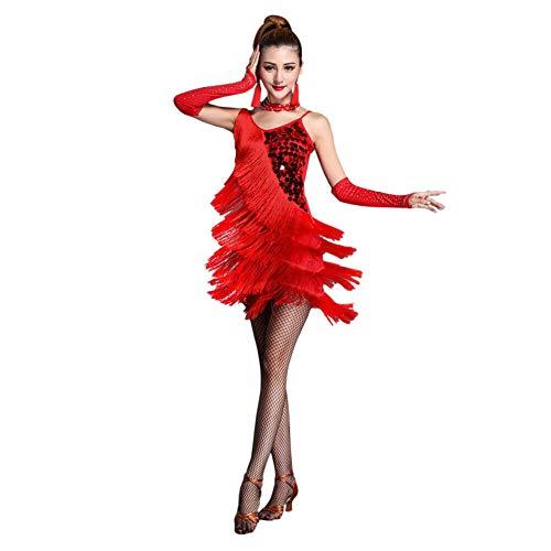 Xinvivion Latino Vestito da Ballo per Donne - Valzer Sala da Ballo Danza Costume di Pratica Lustrino Nappa Dancewear