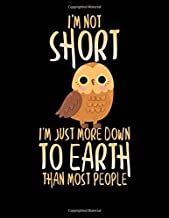 I'm Not Short I'm Just More Down To Earth Than Most People: Funny Owl Pun Blank Sketchbook to Draw and Paint (100 Empty Pages, 8.5