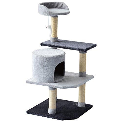 PawHut Albero Tiragraffi per Gatti 3 Livelli Cuccia e Giocattoli con Topolino Portata 25kg Legno Altezza 100cm