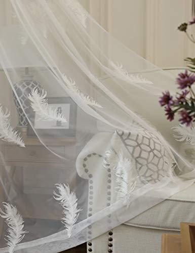 Lactraum Rideaux de salon transparent blanc avec œillets brodés en plumes 200 x 245 cm