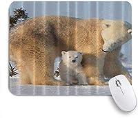 KAPANOUマウスパッド シロクマの母親が赤ちゃんの動物アートを見る ゲーミング オフィス おしゃれ 防水 耐久性が良い 滑り止めゴム底 ゲーミングなど適用 マウス 用ノートブックコンピュータマウスマット