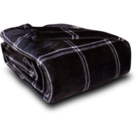 Mainstay Twin & Twin XL Deluxe Plush Blanket, Black Plaid 66 x 94