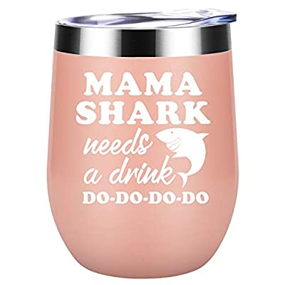 Gifts for Mom - Mama Shark Needs a Drink - Mom Gifts from Daughter, Son - Funny Mom, Wife Birthday Gifts - Best Mom to be, Pregnant Mom, New Mom, Wife Gifts - Coolife Mommy Shark Wine Tumbler Mom Mug