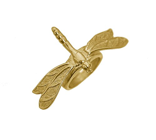 Prince of Diamonds Inc Garden Dragonfly Celtic Queen Goddess Insect Wings Ring 24K Gold Plated Jewelry