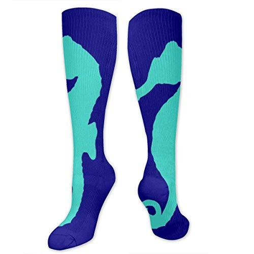 NA Calcetines deportivos para hombre y mujer, diseño de escamas de sirena, color azul, talla única, 50 cm, Mujer, Caballito de mar azul real, 19.7 inch