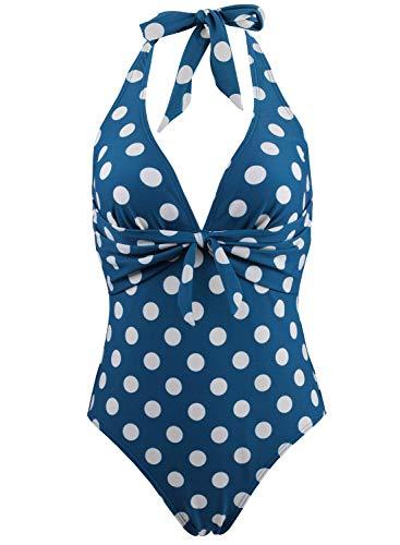 Doballa Damen Retro 50er Jahre Polka Dots Print Vintage V-Ausschnitt Halfter EIN Stück Fliege vorne Bikini Badeanzug (L(EU40), Nilblau)