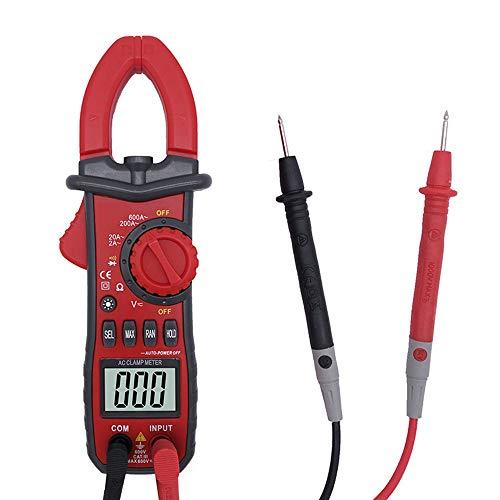 Multímetro de pinza digital, amperímetro de pinza avanzada, 2000 mediciones de contador CA/CC, corriente y voltaje, resistencia, prueba de continuidad, medición relativa, retroiluminación LED.