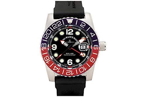 Zeno-Watch - Reloj de Pulsera para Hombre - Airplane Diver Quartz GMT Points (Dual Time) Negro/Azul/Rojo - 6349Q-GMT-a1-47