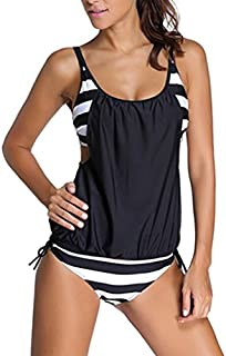 EVALESS Women Stripes Print Sporty Double Up Layered Two Piece Tankini Sets Swimsuits