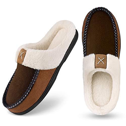 Homitem Men's Cozy Memory Foam Slippers,Fuzzy Wool-Like Plush Fleece Lined House Shoes w/Indoor Outdoor Anti-Skid Rubber Sole(Size 11-12,Brown)