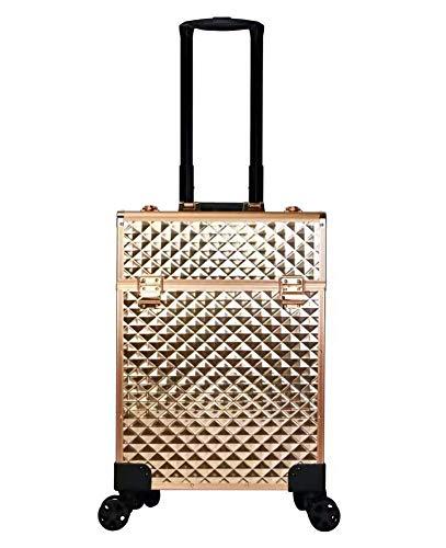 Beauté Trolley Case, Grand Aluminium Beauté Trolley Vanity Case Make Up boîte cosmétique Sac coiffure Nail Salon Art,D'or