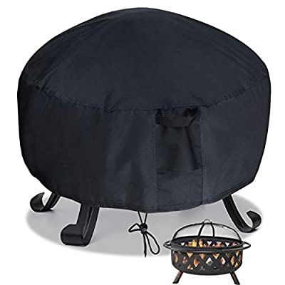 Saking Waterproof Fire Pit Cover Round 32 x 32 x 16 inch - 600D Heavy Duty with PVC Backing for Patio Firepits (Black)