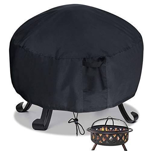 Saking Waterproof Fire Pit Cover Round 36 x 36 x 20 inch - 600D Heavy Duty with PVC Backing for Patio Firepits (Black)