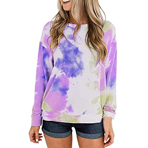 Lowest Price! Womens Long Sleeve Sweatshirt Tie-Dyed Pullover Tops Crewneck Casual Lightweight Tops
