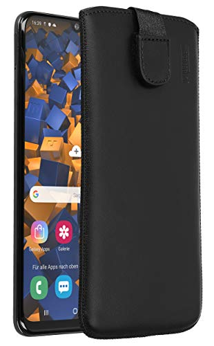 mumbi Echt Ledertasche kompatibel mit Samsung Galaxy A50 Hülle Leder Tasche Hülle Wallet, schwarz