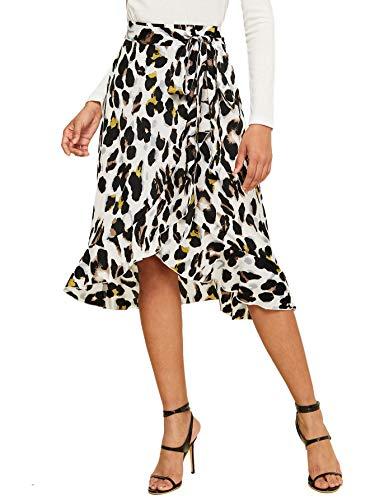 SheIn Women's Leopard Print Ruffle Hem Casual Midi Warp Skirt White Medium
