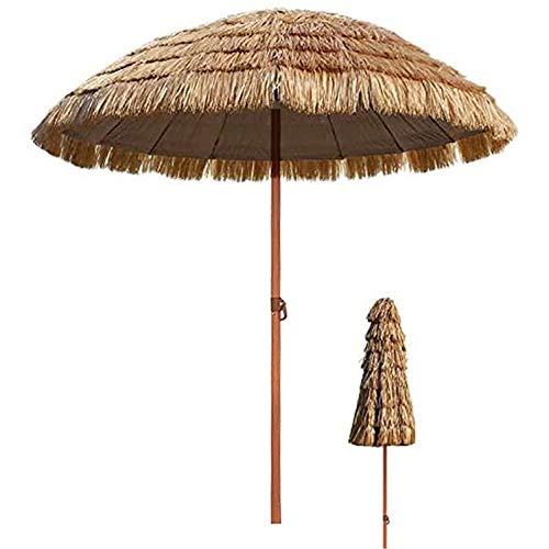 Ombrello tropicale hawaiano con ombrellone in paglia da spiaggia, ombrellone da giardino impermeabile in stile hawaiano con tetto in paglia, colore naturale 2,4 m   7,87 piedi (base non inclusa)