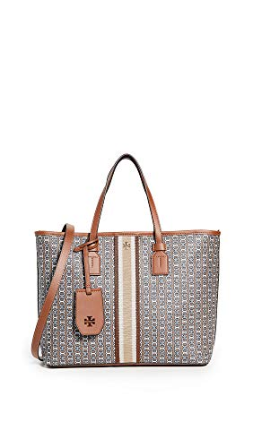 Tory Burch Women's Gemini Link Canvas Small Tote, Light Umber, Brown, Grey, Print, One Size