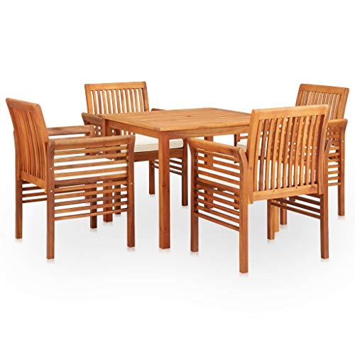 VidaXL Solid Wood Acacia Dining Set Garden Furniture Outdoor Durable Timber Practical Comfortable Elegant Useful 5 Pieces and Cushions
