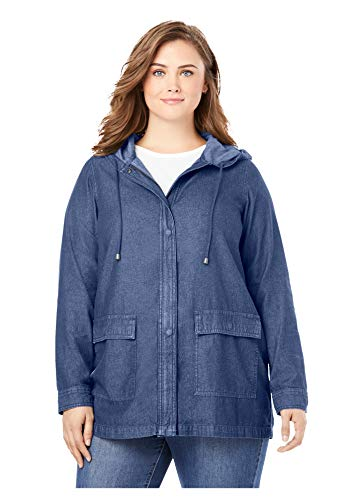 Woman Within Women's Plus Size Lightweight Hooded Jacket - 26/28, Indigo