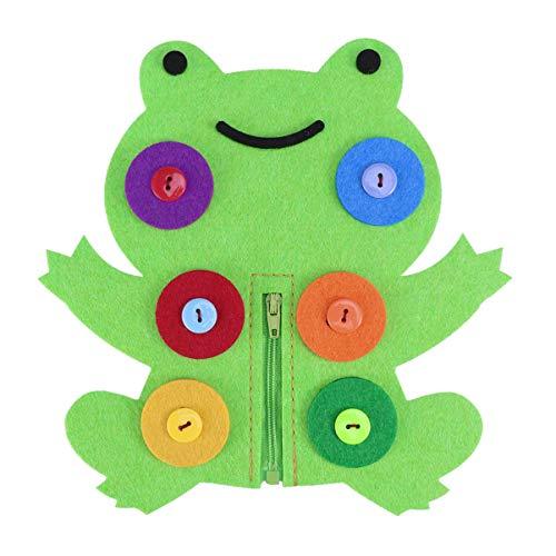 Artibetter Besetztes Brett Grundlegende Lebensfähigkeiten Lernen Bretter anzuziehen Frühes Lernspielzeug für Kinder Baby Kinder (Frosch)