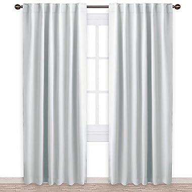 NICETOWN Living Room Darkening Curtain Drapes - (Greyish White) W52 x L84, Set of 2, Room Darkening Window Treatment Drapery Panels
