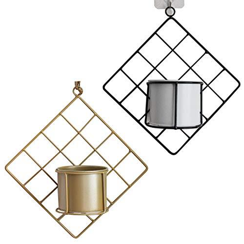 GRANDLIN 2 paneles de rejilla de pared con terrarios de plantas de pared, cilindros para macetas, ganchos de metal, soporte de pared, soporte de pared para macetas