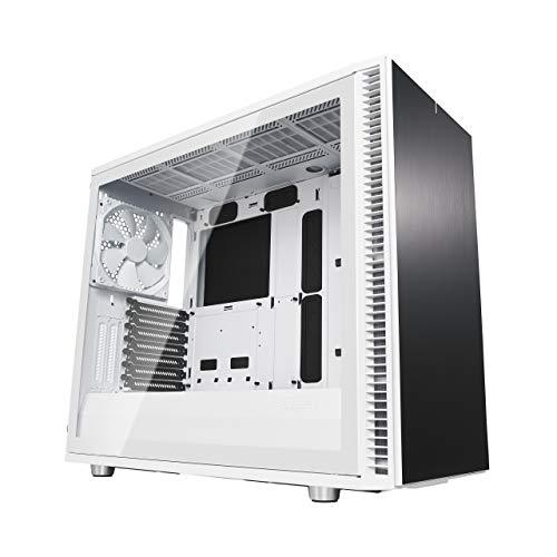 Fractal Design DefineS2 White, Tempered Glass, PC Gehäuse (Midi Tower mit Seitenteil aus gehärtetem Glas) Case Modding für (High End) Gaming PC, schwarz