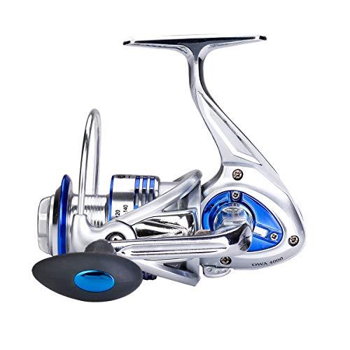 Diwa Carretes de Pesca Spinning para Agua Salada Agua Dulce 3000 4000 5000 6000 7000 Carretes Ultra Lisos Ultraligeros Equipo Potente Cuerpo de Metal Carretes de Pesca en Hielo (6000)