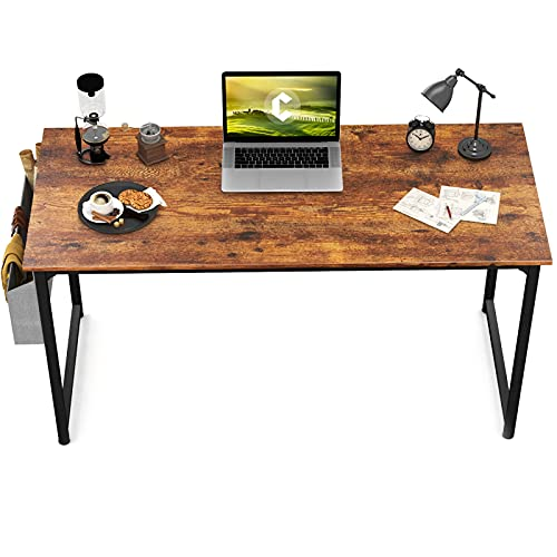 CubiCubi Study Computer Desk 47' Home Office Writing Small Desk, Modern Simple Style PC Table, Black Metal Frame, Rustic Brown