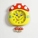 Qaaqiy Personalidad pared del sitio de la decoración del hogar del reloj del reloj digital de la forma creativa de la seta de dibujos animados de los niños lindos del reloj de péndulo de la sala dormi