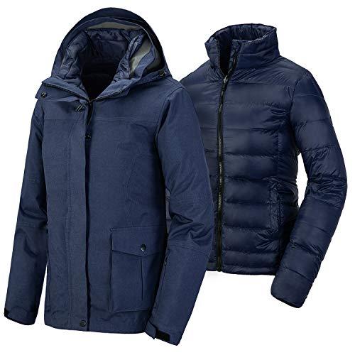 Wantdo Women's Hooded 3 in 1 Down Jacket Mountain Windbreaker Ski coat Navy M