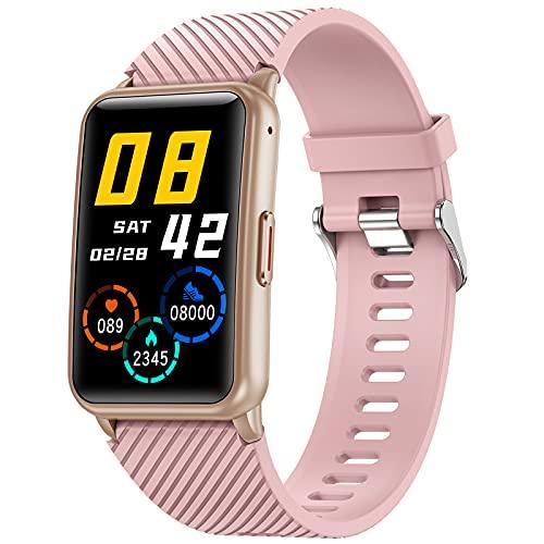 shjjyp Reloj Inteligente Mujer Rosa Cuadrado De Pantalla TáCtil Pulsera Actividad Inteligente con PulsóMetro Monitor De SueñO Reloj Digital CaloríAs PodóMetro Impermeable para Android E iOS,Rosado