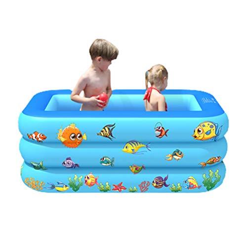 Piscina infantil, piscina inflable de la familia, piscina rectangular de PVC para niños para jardín al aire libre, patio trasero, fiesta de agua de verano