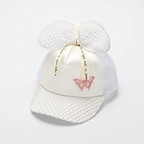 tongchuang Summer Hats for Girls Baseball Cap Snapback Sunshade Outdoor Fashion Bow Butterfly Travel Sun Hat Kids Child (Age Range : 48-53cm, Color : White)